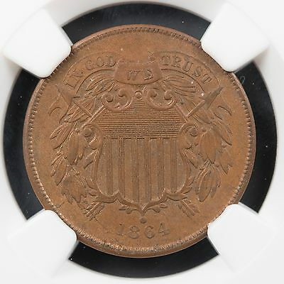 1864 Two Cent Piece MS 64 BN Large Motto NGC Certified