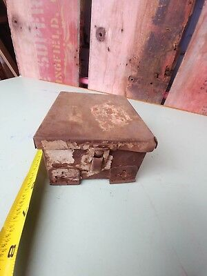 vintage old delivery truck medical box first aid metal box storage decor rusty