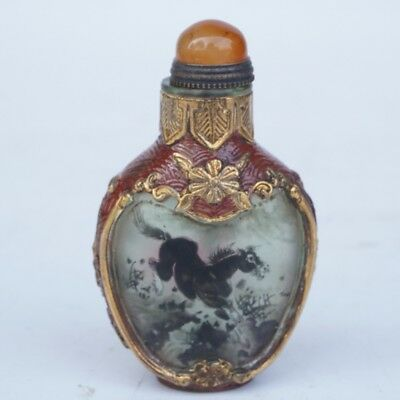 Chinese Exquisite glass Handmade horse snuff bottle
