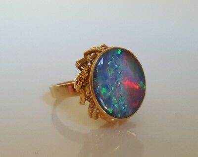 14k solid yellow gold opal ring 8.48g size N