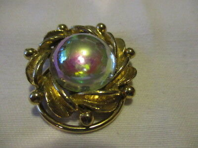 VINTAGE  Goldtone Scarf Clip with a Large Iridescent Faux Stone in the Middle