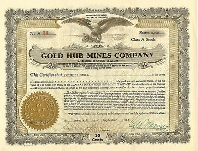 Gilpin County Gold Mining Corporation, 1933, Colorado, STOCK CERTIFICATE-No 34