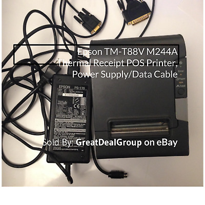 Epson TM-T88V M244A Serial Thermal Receipt POS Printer, Power Supply/Data Cable