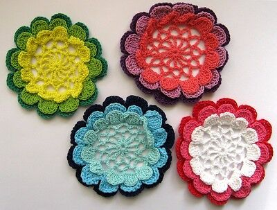 Set of 4 X BEAUTIFUL CROCHET LACE DOILIES - IN VIBRANT COLORS. FREE POSTAGE.