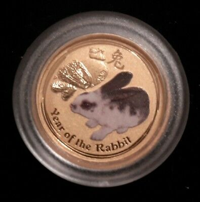 2011 1/20 oz Australia gold Lunar year of the Rabbit .999Au. Colorized (S l)