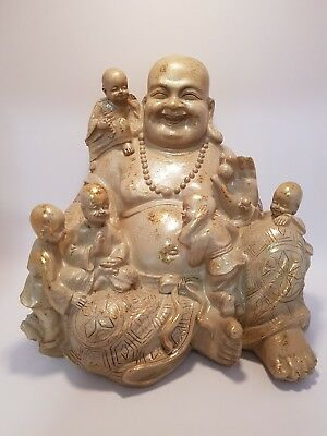 Antique Gold/Stone Look Resin Happy Buddha Sitting with Children 20cm x 20cm