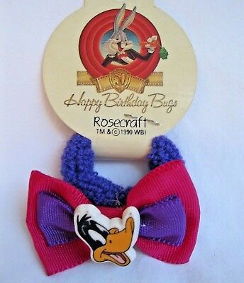 Vtg New Daffy Duck Ponytail Holder New Old Stock 1990 Happy Birthday Bugs Bunny