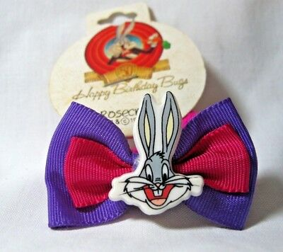Vtg New Happy Birthday Bugs Bunny Purple & Pink Ponytail Holder Warner 1990 Nos