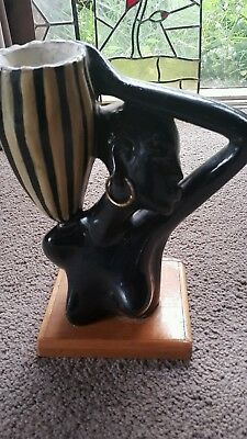 Barsony Lamp Base . Black lady. Retro Vintage era