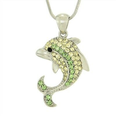"Dolphin W Swarovski Crystal Green Ocean Beach Sea Marine New Pendant 18"" Chain"