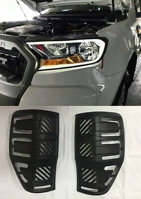 Drl Led Matt Black Headlight Tail Light Lamp Cover Ford Ranger Xl Px2 2015-2018
