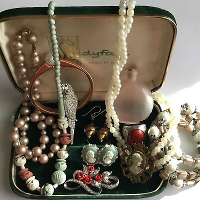 Vintage Antique Jewellery Lot Cameos Rhinestones Faux Pearls Glass Bottle