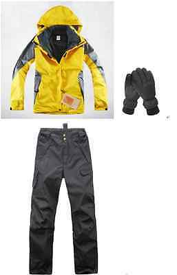 Women Yellow 8K Hiking Bush Walking Waterproof Jacket+Pants+Gloves S M L XL XXL