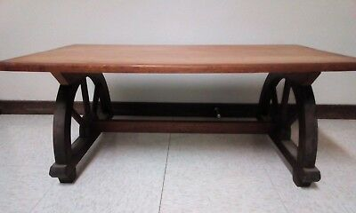 Vintage Wagon Wheel Wood Coffee Table - Western/Cabin - Monterey