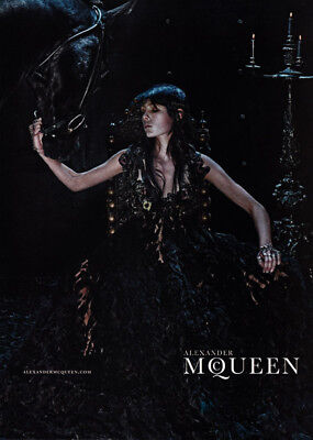 Alexander McQueen 1-page print ad 2014 Edie Campbell, beautiful black horse