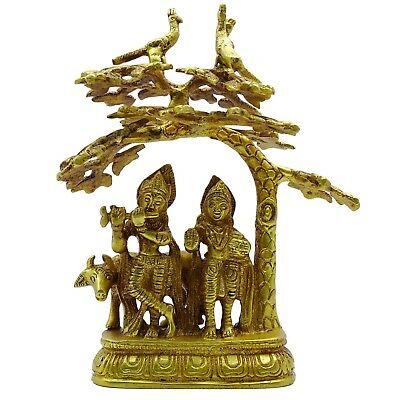 Indian Religious Lord Krishna Radha Statue Brass Metal Home Table Decor MF2438A