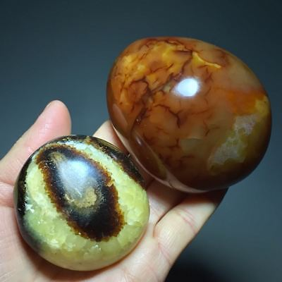 379g 2pcs AAAA++++Madagascar Large Dragon Septarian Crystal Sphere & Red Agate
