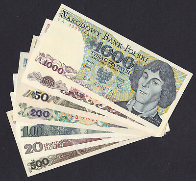 Poland 10, 20, 50, 100, 200, 500, 1000 Zlotych, 1982 - 1988,set 7 Banknotes  Unc