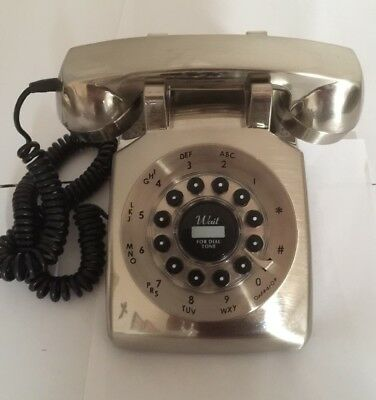 Vintage look / Retro Stainless Steel Telephone - Push Button