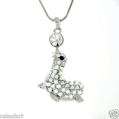 "W Swarovski Crystal Sea Lion Ocean Charm New Pendant Necklace Jewelry 18"" Chain"