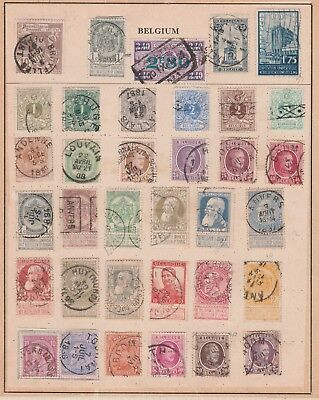 BELGIUM Assorted Stamps on Old Pages, Postmark Variety etc USED as per scan #