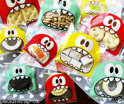 40 x Monster Lollie Bags treat lolly favors cello funny plastic self-adhesive