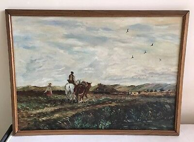 Vintage Oil Painting On Board of Farm landscapes Scene In Wood frame