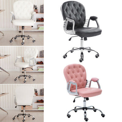 Leather Office Chair Swivel Adjustable Luxury Computer Desk Chair Accent Armrest