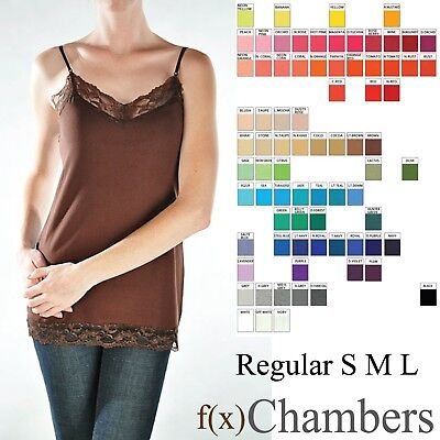 Lace Trim Camisole Basic Cami Tank Top Tunic Adjustable Spaghetti Straps Regualr