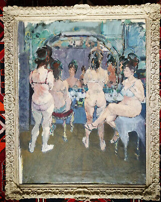 Large Quality Early 60S Oil Painting Women Exotic Dancers Nude Camberwell School