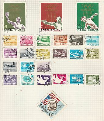 ROMANIA COLLECTION Olympics, Space, etc on Old Book Pages, As Per Scan #