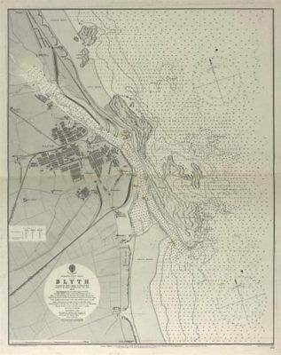 Blyth town and harbour. Admiralty nautical sea chart. Northumberland 1902 map