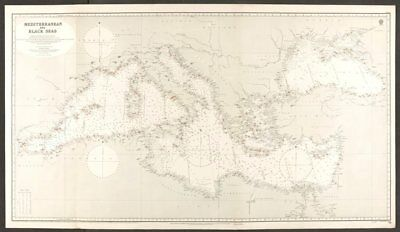 Mediterranean & Black Seas. Lighthouses. Admiralty nautical sea chart 1930 map