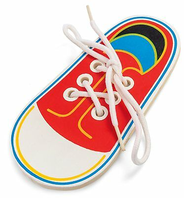 Childrens Red Educational Wooden Lacing Shoe