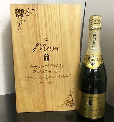 Personalised Wooden Wine Box Mothers Day Mum Birthday free engraving 3 sizes