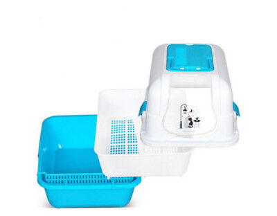 E29 Pet Toiletries Portable Cat Toilet Tray House Litter Box Scoop Carrier Hood