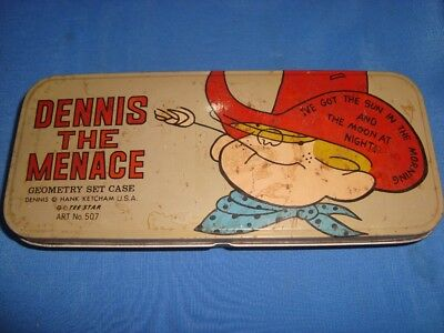 Vintage Style Tin Dennis The Menace Empty Compass Box from India 1993