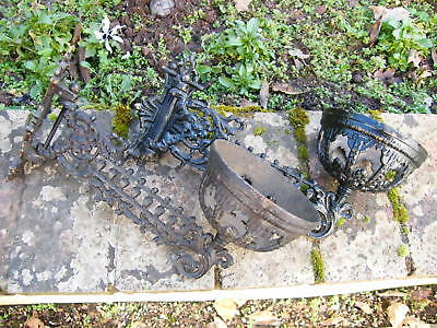 A Reclaimed Pair Of Cast Iron Swinging Arm Wall Oil Lamp Holders Brackets