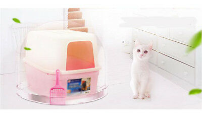 E35 Pet Toiletries Portable Cat Toilet Tray House Litter Box Scoop Carrier Hood