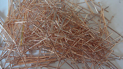 Headpins 35mm Lovely Rose Gold Plated Brass Straight Head Pins Various packs