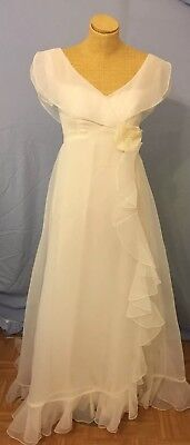 Vtg 60s House Bianchi Wedding Dress Prom formalS Small excellent chiffon flower