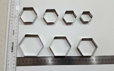 HEXAGON COOKIE CUTTER SET NEW 7 Pcs Stainless Steel !