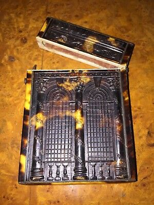 Antique FRENCH Card Case  TORTOISE SHELL pressed 19TH MINT ANCIEN éCAILLE