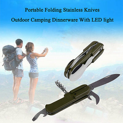 Stainless 10 Function Outdoor Camping Multi Purpose Rescue Survival Tableware NI