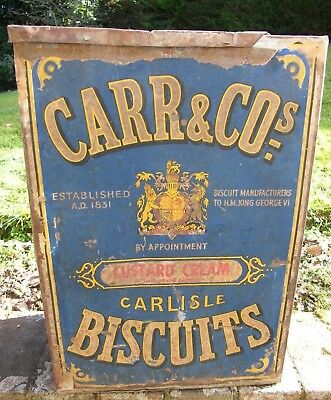 A Vintage Very Large Carr & Co Shop Display Biscuit Tin Sign