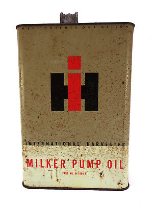 Antique Dairy International Harvester Milk Pump OIL tin Can vtg IH Tractor farm