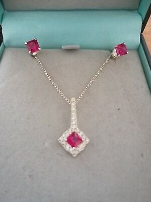 Simply Silver Sterling Necklace And Earrings with Pink Crystal Design