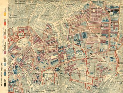 HOXTON CLERKENWELL. Charles Booth poverty map.Old Street St Luke's Finsbury 1902
