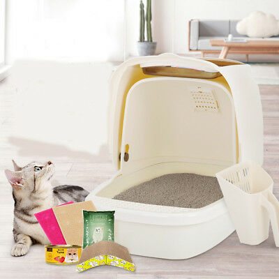 E18 Pet Toiletries Portable Cat Toilet Tray House Litter Box Scoop Carrier Hood