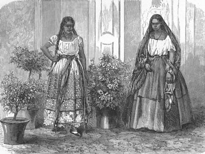MEXICO. A Mexican Courtyard(Patio) 1880 old antique vintage print picture